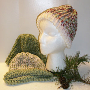Lot of 3 NEW Hand Made Cable Knit Hats